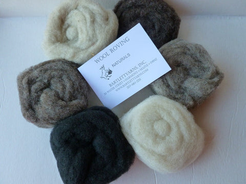 Wool Roving, Naturals Sampler by Bartlett yarns - Felted for Ewe