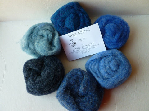 Wool Roving, Blues Sampler by Bartlett yarns - Felted for Ewe