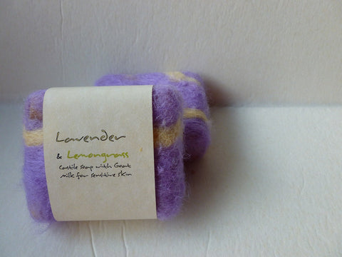 Felted Soap, Handmade Felted Soap - Lavender and Lemongrass - Felted for Ewe