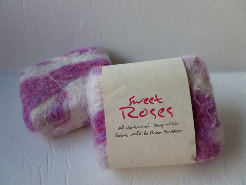 Felted Soap, Handmade Felted Soap - Sweet Roses - Felted for Ewe