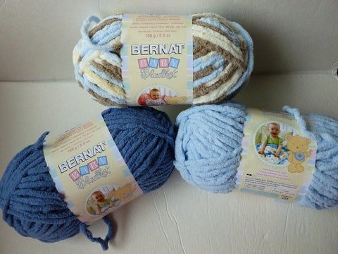 Yarn Sale  - Baby Blue, Baby Denim and Little Cosmos  Baby Blanket by Bernat