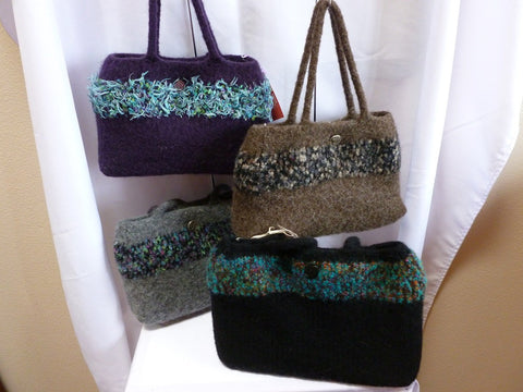 Felted Purse, Hand Knit Felted Purse with 2 Soft Wool Handles - Felted for Ewe