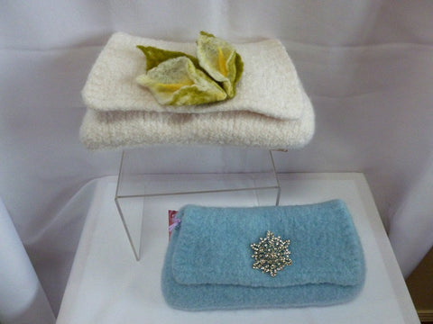 Felted Purse, Hand knit Felted Wedding or Evening Clutch - Felted for Ewe