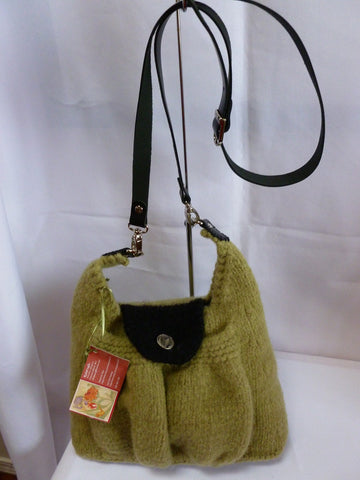 Felted Purse, Hand Knit and Felted Green Purse with adjustable Leather Shoulder Strap - Felted for Ewe