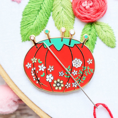 Needle Minder - Vintage Floral Pin Cushion by Flamingo Toes
