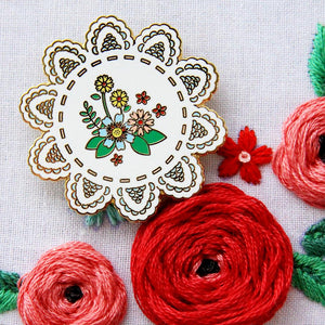 Needle Minder - Vintage Floral Doily by Flamingo Toes