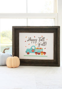 Happy Fall Y'all Cross Stitch by Flamingo Toes