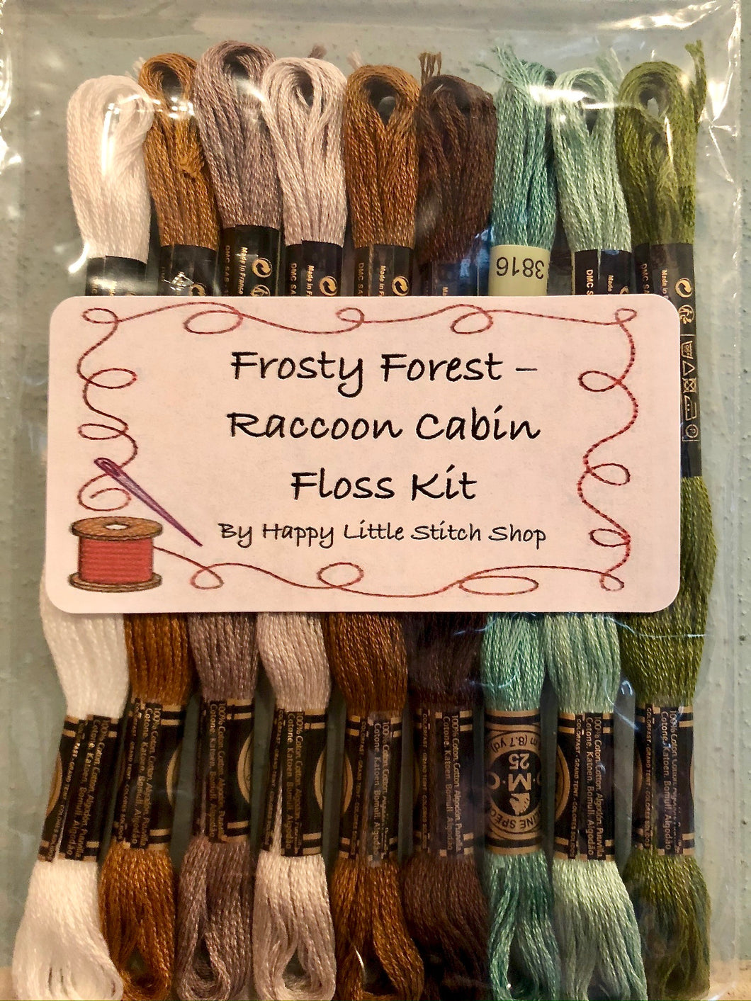 Floss Kit - Frosty Forest 1 - Raccoon Cabin