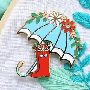 Needle Minder - Floral Umbrella and Boots by Flamingo Toes