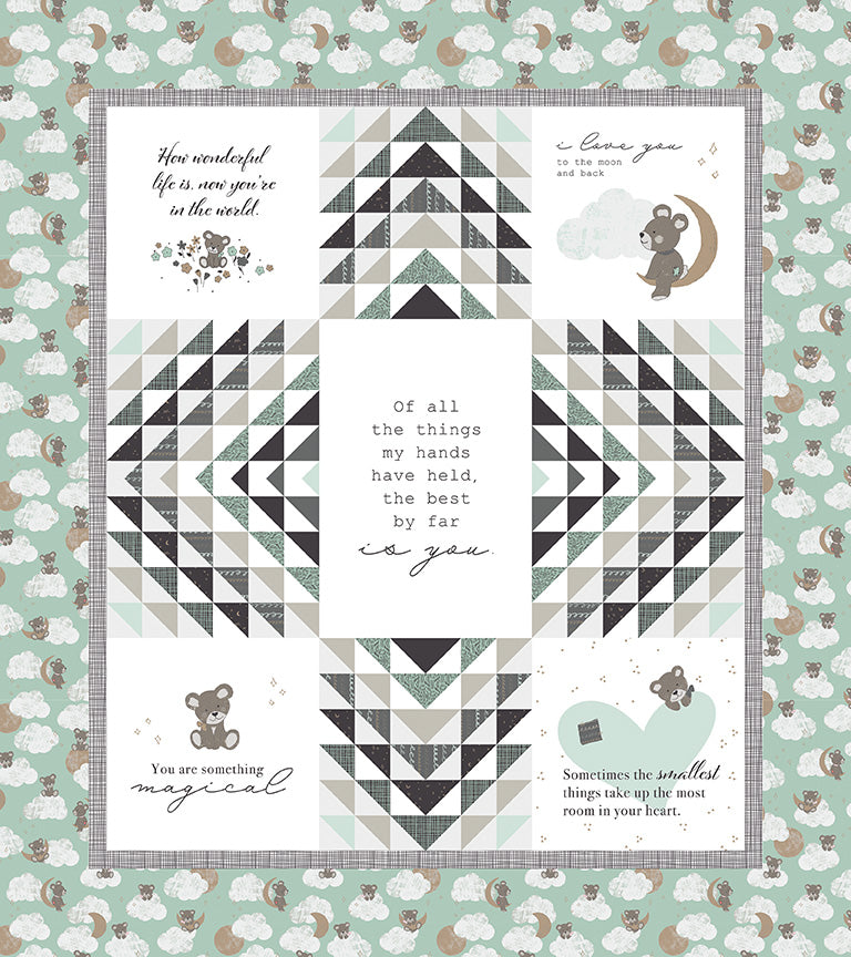 RESERVATION - Sleep Tight Panel Quilt Kit - Green by Gabrielle Neil