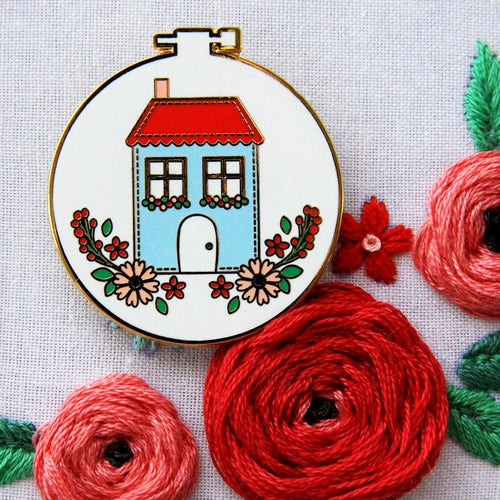 Needle Minder - Sweet Home Embroidery Hoop by Flamingo Toes