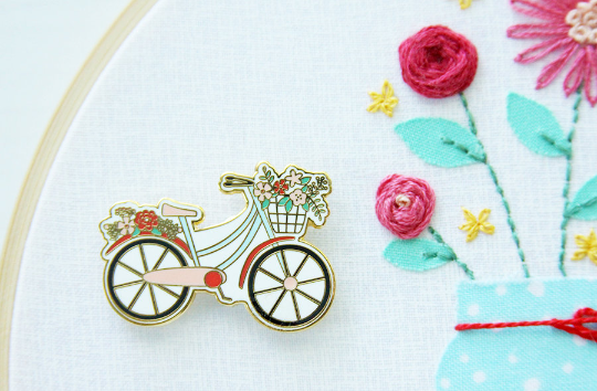 Needle Minder - Floral Vintage Bicycle by Flamingo Toes