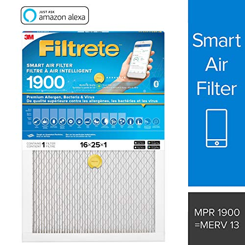 Filtrete Smart Filter MPR 1900, Allergen, Bacteria & Virus Pleated AC Furnace Air Filter, 1-Pack