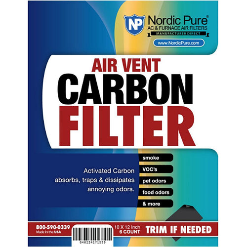 Air Vent Carbon Filters 10x12  6 Pack