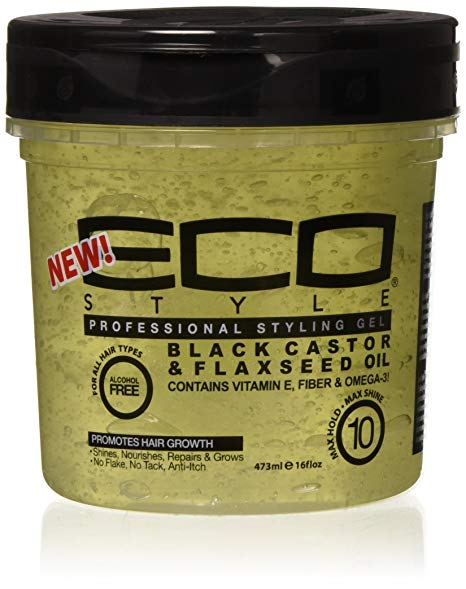 Gel Black castor oil and flax seed oil styling 473ml. ECOSTYLER