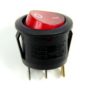 Knop 10-30 volt Rond Rood Lichtgevend