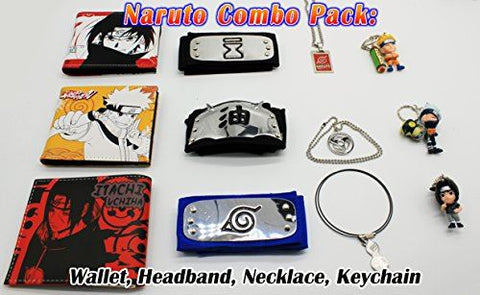 Naruto Headband, Wallet, Necklace & Keychain 4 pc Cosplay Costume Combo Random S