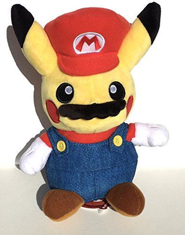"Pokemon Pikachu cosplay Mario 9"" Plush"