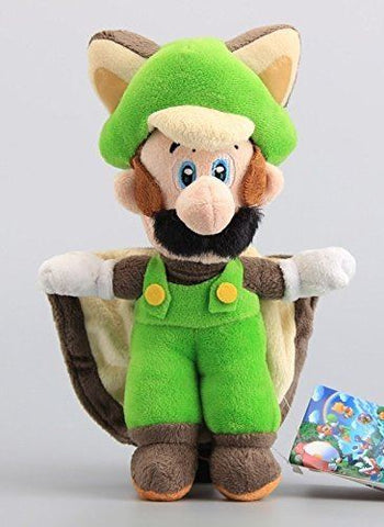 Super Mario Bros Flying Squirrel Luigi 9 Inch Toddler Stuffed Plush Kids Toys