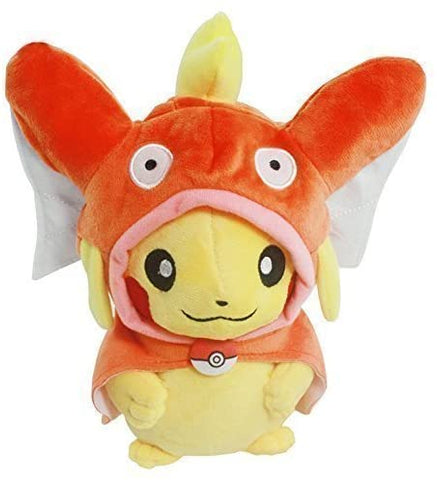 Pokemon  Pikachu with Magikarp Hooded Cape Cosplay Plush Toy Stuffed Animal 8""