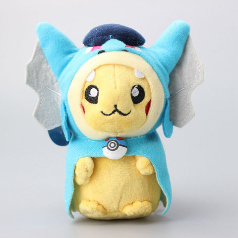 Pokemon: Pikachu with Gyarados Cape Cosplay Magikarp Plush Keychain 5""