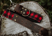 Load image into Gallery viewer, Waxed Red Plaid + Leather