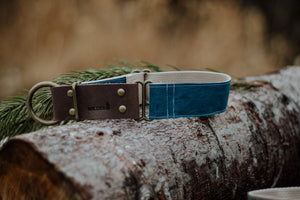 Waxed Cotton + Leather  - Teal/Blue