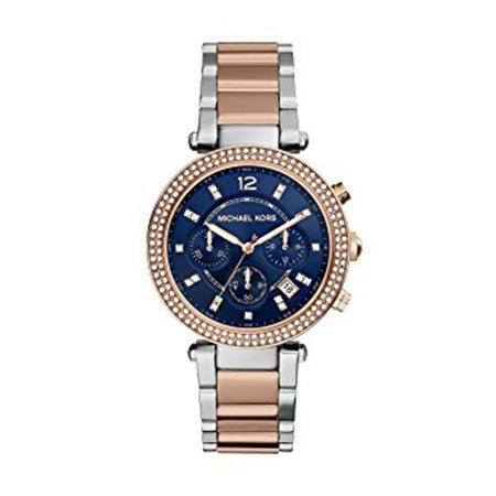 MICHAEL KORS LADIES PARKER TWO-TONE NAVY CHRONOGRAPH WATCH MK6141