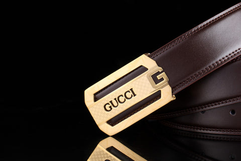 Gucci Dark Brown Gold Buckle Belt