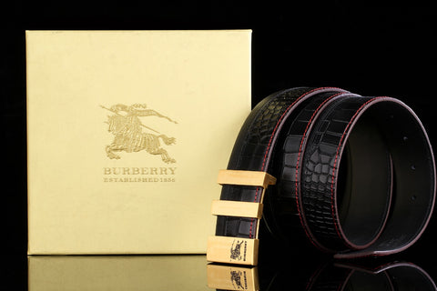 Burberry Black Leather Golden Buckle Belt
