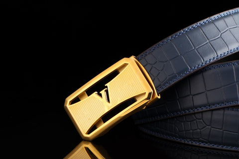 Louis Vuitton Blue Leather Belt