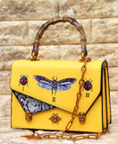 Gucci Yellow Colour Leather Handbag