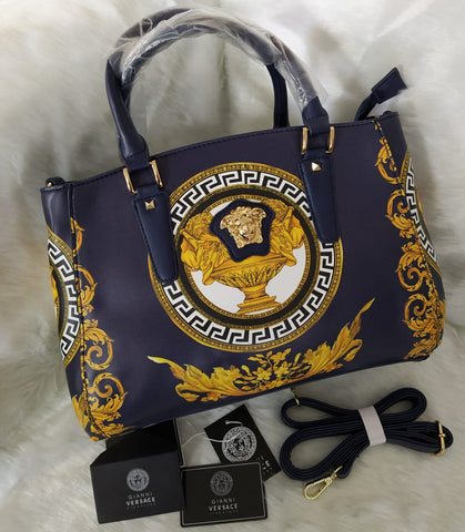 Versace Blue Leather Handbag