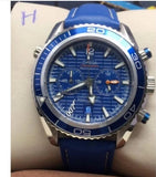 Omega Seamaster Blue Dial Leather Strap Men's Watch