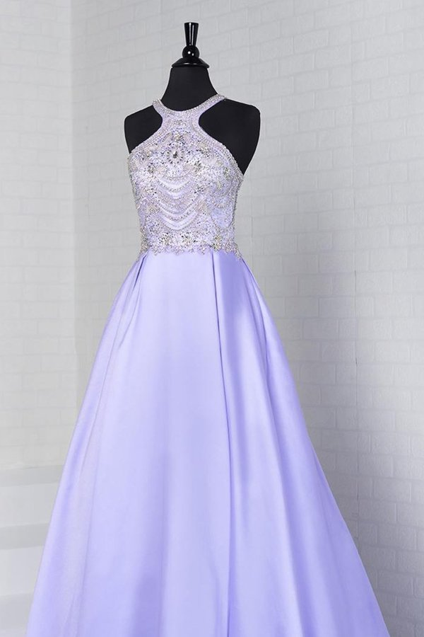 A Line Scoop Satin Prom Dresses With Beads PNHXJ96T