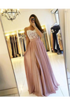 High Split Spaghetti A-Line Appliques Chiffon Prom Party STGPEP57HR2