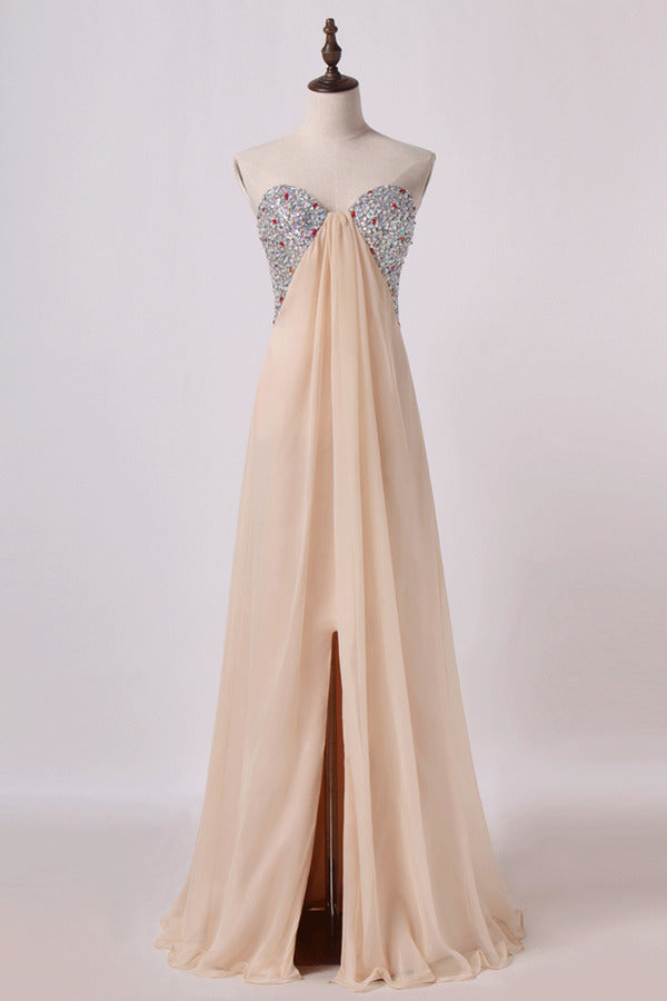 Sweetheart A Line Prom Dresses Chiffon With Slit&Beads P1KGSEYT