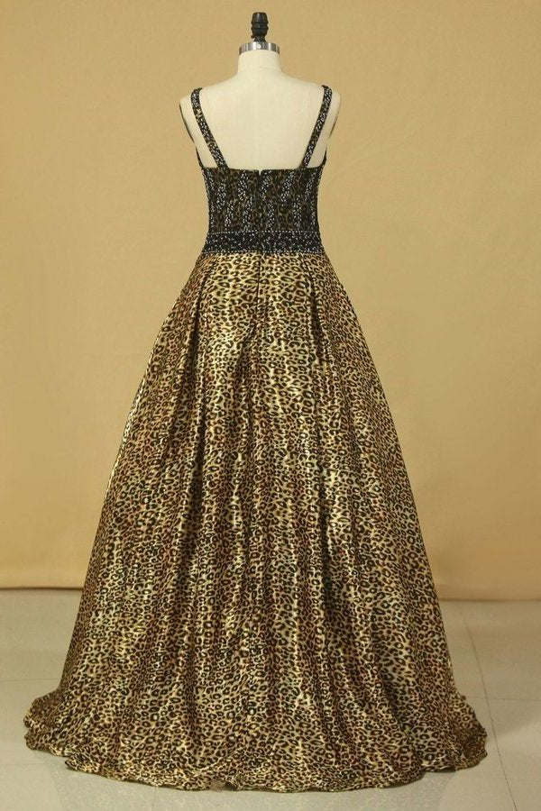 Animal Print V Neck Beaded Bodice A Line Prom PZ5PDPLF