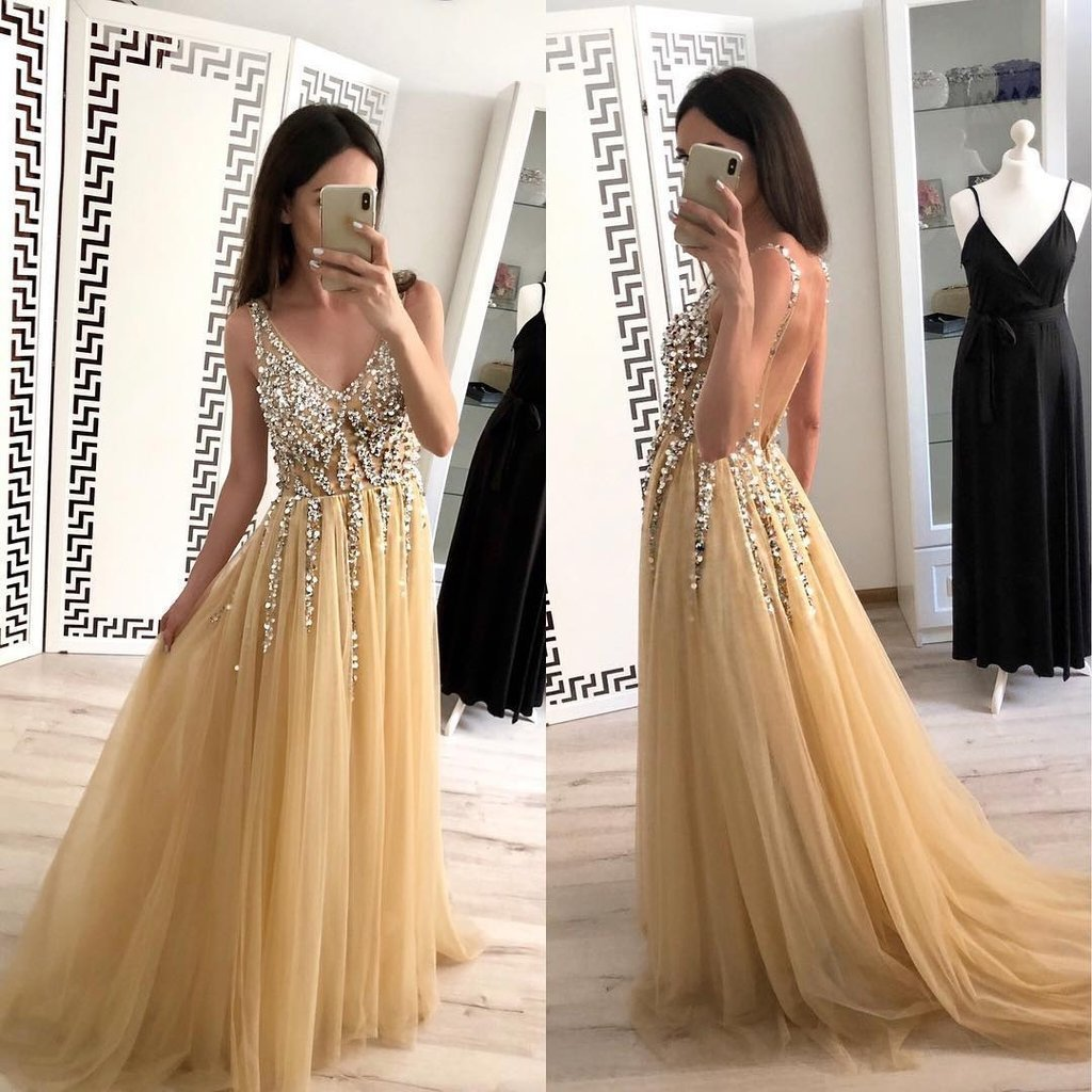 Simple A Line Tulle Beads V Neck Straps Backless Prom Dresses Long Evening Dresses
