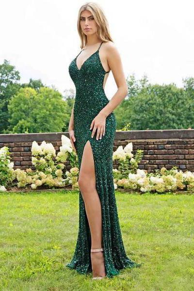 Sexy Mermaid Green V Neck Sequins Criss Cross Prom Dresses Cheap Evening Dresses