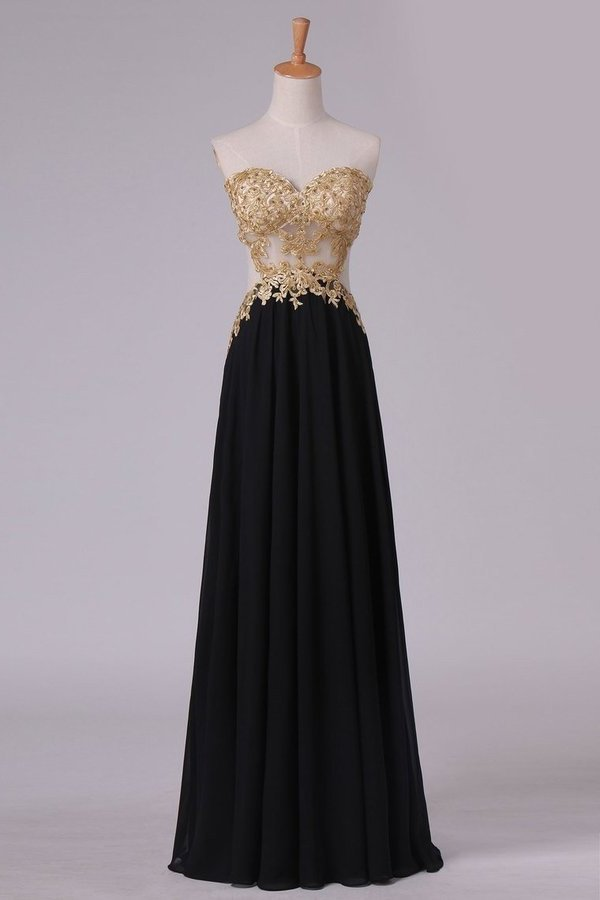 Sweetheart Prom Dresses A Line Chiffon With Gold Applique PDQN7TR9