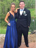 Hot Selling V-neck Floor-Length Royal Blue Prom Dress with Beading