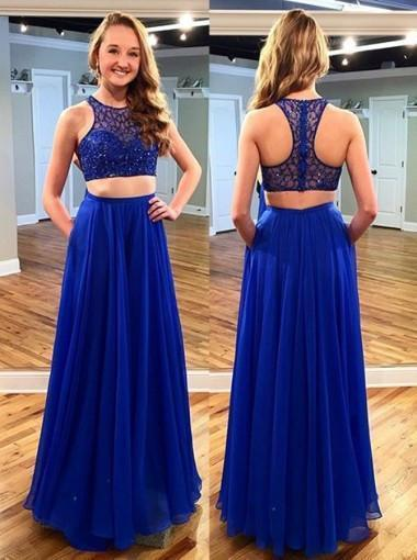 Stunning Two Piece Jewel Sleeveless Floor-Length Royal Blue Prom Dress with Beading