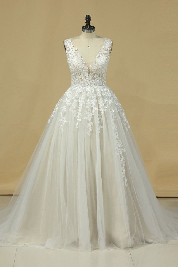 2020 A Line Straps Prom Dress Tulle With Beads And Applique PGSAG385