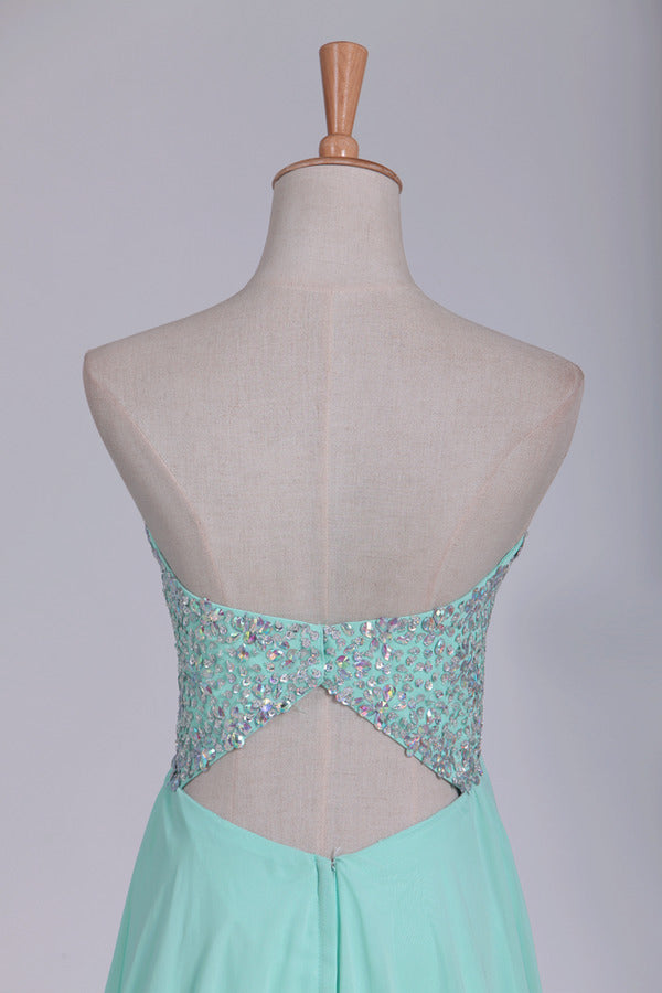 A Line Chiffon Sweetheart Open Back Beaded Bodice Prom P66HRKA4