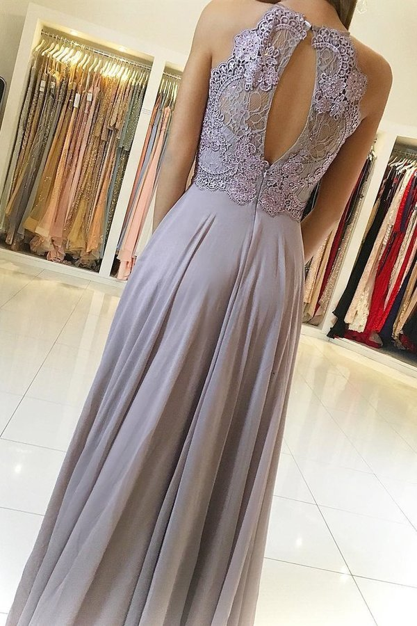 Halter Chiffon Prom Dresses A Line With Applique P2R8K7MH