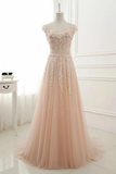 A Line Sheer Neck Cap Sleeves Tulle Prom Dresses Appliques Sweep Train Formal STGPTEXZSTC