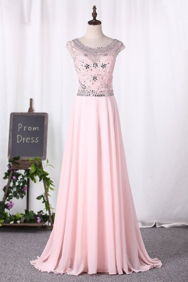 2020 Beaded Bodice Prom Dresses A Line Scoop Chiffon PCQYHAG2
