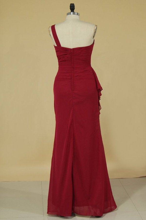 Bridesmaid Dresses Sheath One Shoulder Chiffon With Beads Floor PLAA4T3K