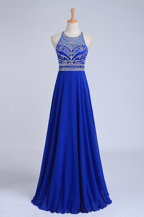 Halter A-Line/Princess Dark Royal Blue Prom Dresses Tulle And Chiffon Sweep P348MBJB